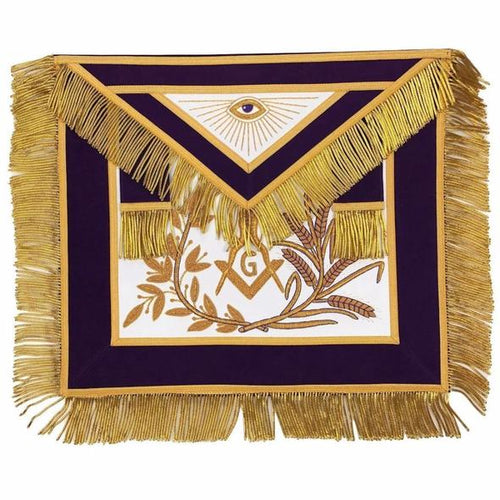 MASTER MASON Gold Embroidered Apron square compass with G Purple - Regalialodge