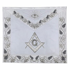 MASTER MASON Grand White Hand Embroided Apron with Square Compass G - Regalialodge
