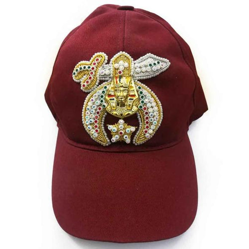Shriner Jewel Embroidered Maroon Baseball Cap - Regalialodge