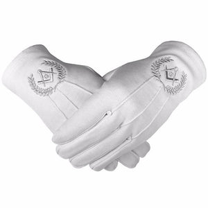 Masonic Cotton Gloves with Machine Embroidery Square Compass and G Silver - Regalialodge