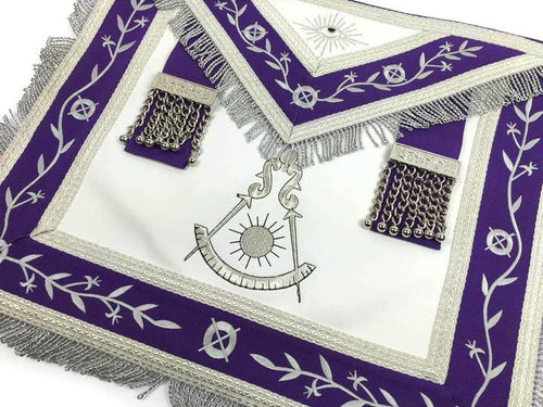 Masonic Blue Lodge Past Master Silver Machine Embroidery Freemason Purple Apron - Regalialodge