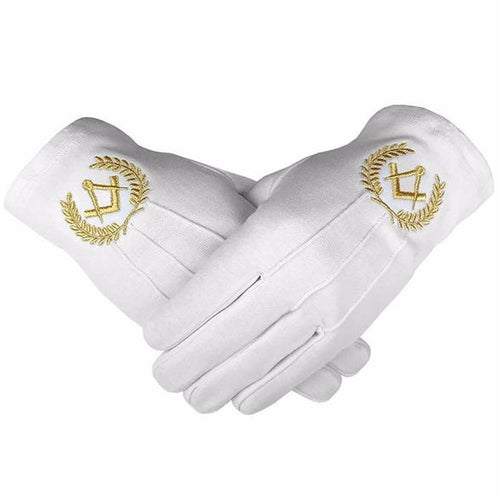 Masonic Cotton Gloves with Machine Embroidery Square Compass Gold - Regalialodge
