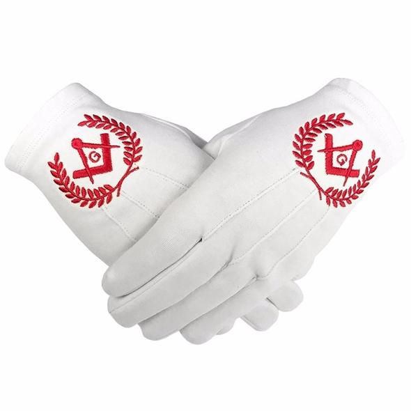 Masonic Regalia 100% Cotton Gloves Square Compass and G - Red - Regalialodge