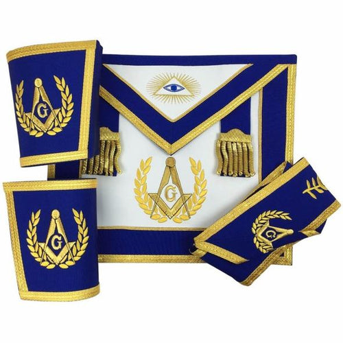 Blue Lodge Master Mason Apron Set Apron,Collar gauntlets (Cuffs) - Regalialodge