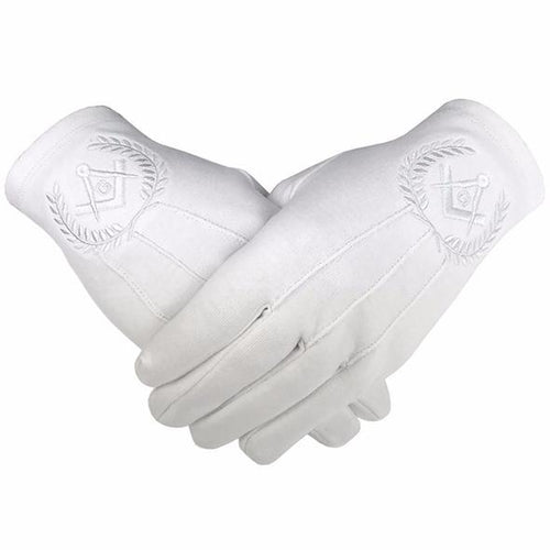 Masonic Regalia 100% Cotton Gloves Square Compass and G - White - Regalialodge