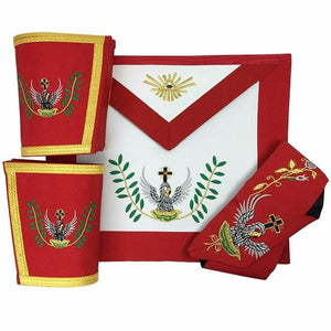 Masonic Rose Croix 18th Degree Apron, Gauntlets and Collar Set - Regalialodge