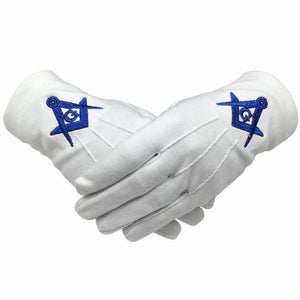 Masonic 100% Cotton Gloves Square Compass & G Blue Machine Embroidery - Regalialodge