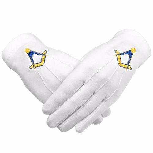 Masonic Cotton Gloves Machine Embroidery Yellow Square and Compass - Regalialodge
