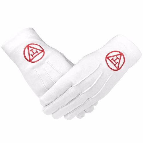 Masonic Royal Arch 100% Cotton Gloves with Machine Embroidery - Regalialodge