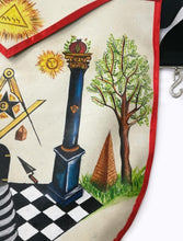 Load image into Gallery viewer, The Two Pillars of Jachin and Boaz Hand-Painted Masonic Lambskin Apron