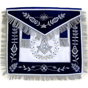 Masonic Master Mason Silver Bullion Hand Embroidered Apron Vine Work - Regalialodge