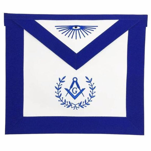 Masonic Blue Lodge Master Mason Apron Machine Embroidery Blue - Regalialodge