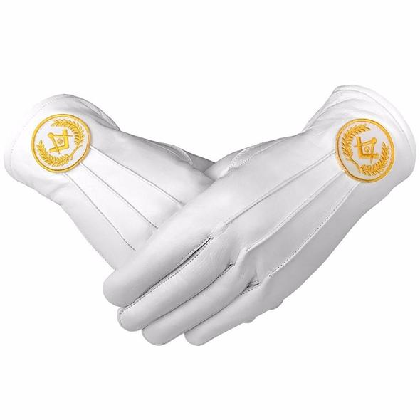 Masonic Regalia White Soft Leather Gloves Square Compass & G Yellow - Regalialodge