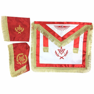Master Mason Satin Apron, Collar gauntlets Set with Fringe Red - Regalialodge