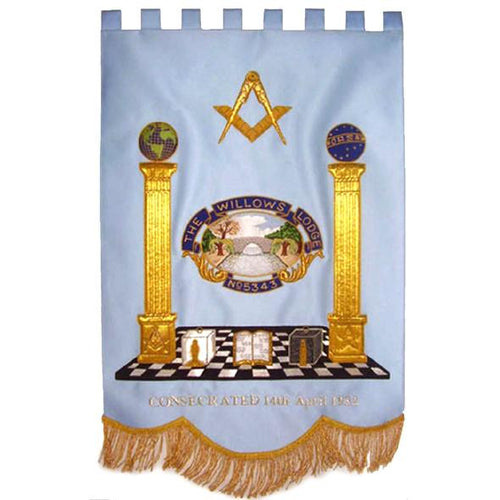 Gold Wire Handmade Embroidered Masonic Banners - Regalialodge