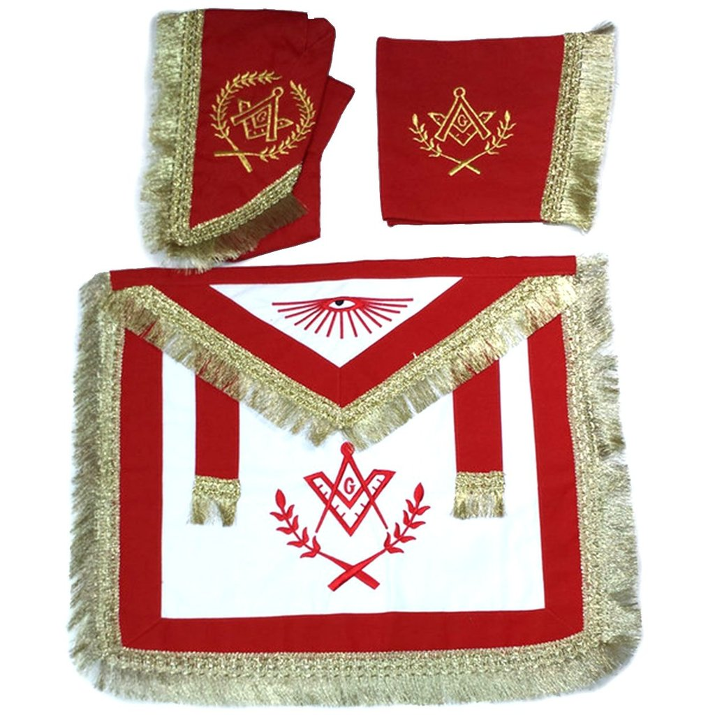 Master Mason Cardura Apron, Collar gauntlets Set with Fringe Red - Regalialodge