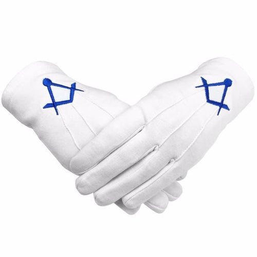 Masonic Cotton Gloves Thin Square and Compass Machine Embroidery - Regalialodge