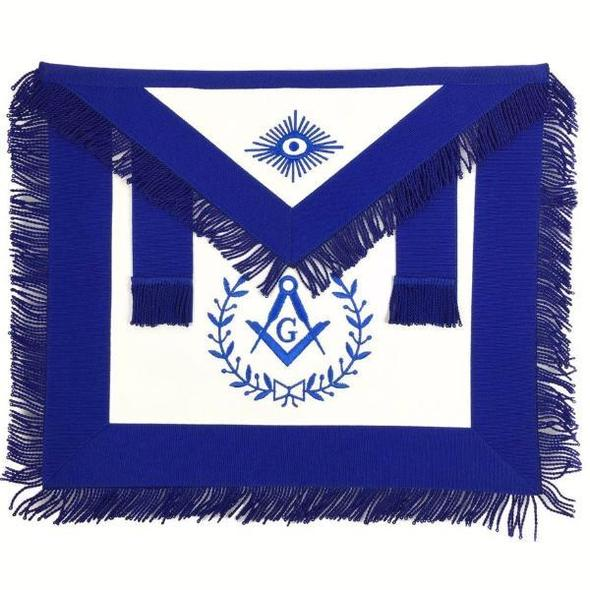 Masonic Blue Lodge Master Mason Apron Machine Embroidery with Fringe Blue - Regalialodge