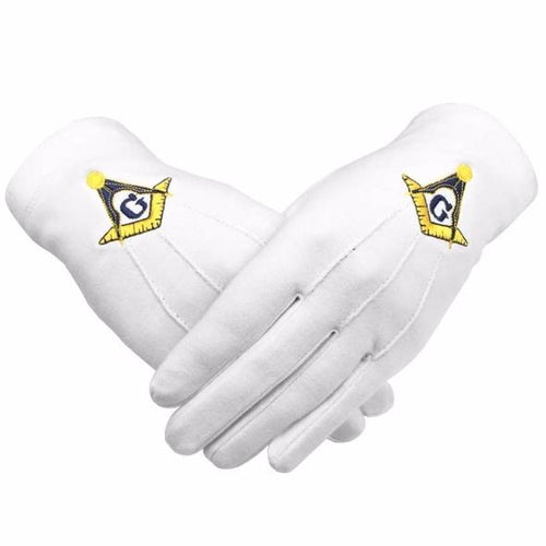 Masonic Gloves Yellow Square compass with G Machine Embroidery - Regalialodge