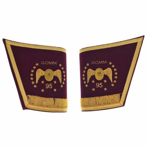 Masonic Scottish Rite 95th Degree Gauntlets Cuffs - Embroidered With Fringe - Regalialodge