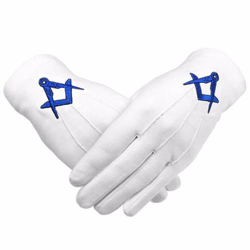 Masonic Cotton Gloves Blue Square and Compass Machine Embroidery - Regalialodge