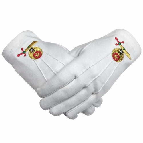 High Quality Masonic Shriner Emblem White Cotton Glove Masonic Glove - Regalialodge