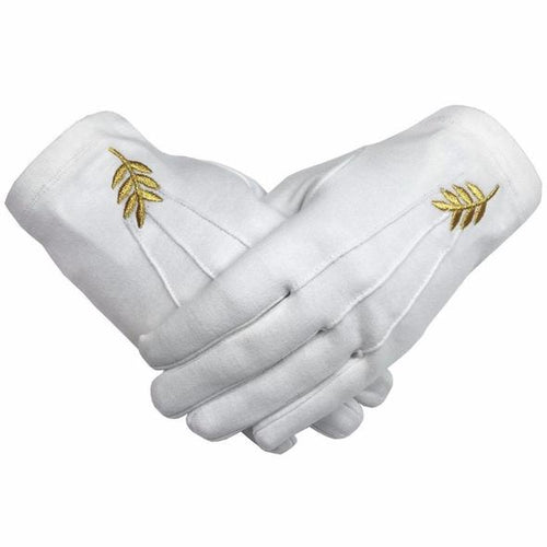 Masonic Acacia Leaf Machine Embroidery White Cotton Gloves - Regalialodge