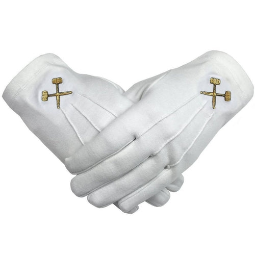 Masonic Crossed Trowels Machine Embroidery White Cotton Gloves - Regalialodge