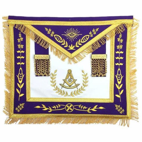Masonic Blue Lodge Past Master Gold Machine Embroidery Purple Apron - Regalialodge