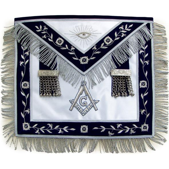 Masonic Master Mason Silver Bullion Hand Embroidered Apron Metal Tassels - Regalialodge