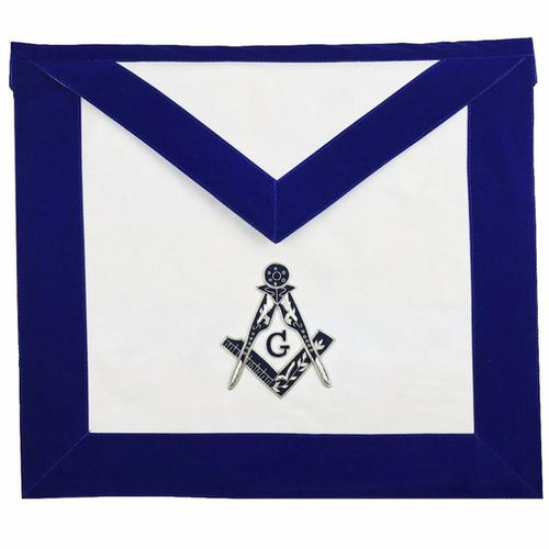 Masonic MASTER MASON Hand Embroided Apron with square compass with G Velvet - Regalialodge