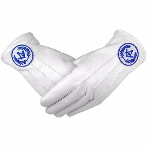Masonic Regalia White Soft Leather Gloves Square Compass & G Blue - Regalialodge