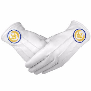 Masonic White Soft Leather Gloves Square Compass & G Yellow Blue - Regalialodge