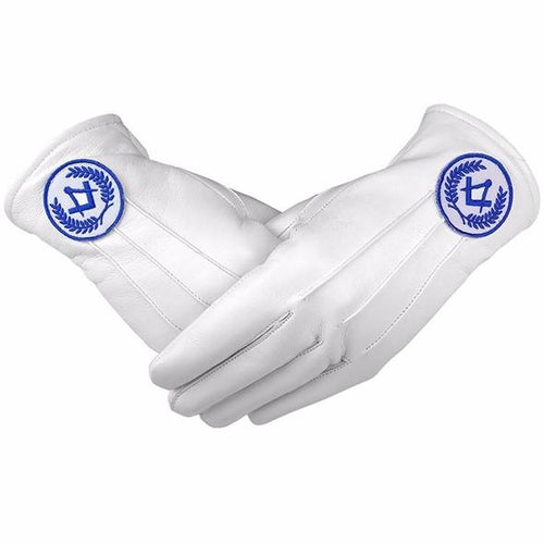 Masonic Regalia White Soft Leather Gloves Square Compass Blue - Regalialodge