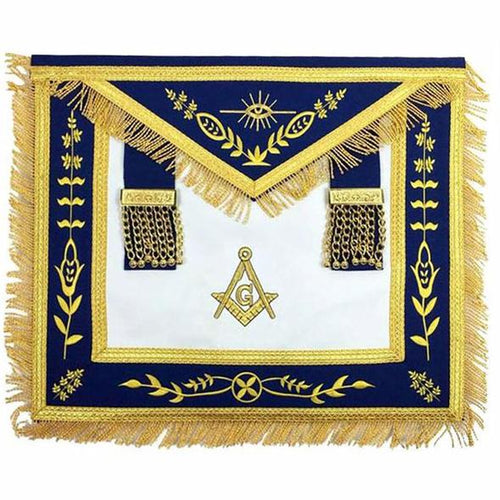 Masonic Blue Lodge G Master Mason Gold Machine Embroidery Apron - Regalialodge