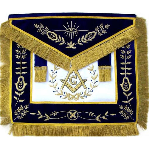 Masonic Master Mason Apron Bullion Hand Embroidered Vine Work - Regalialodge