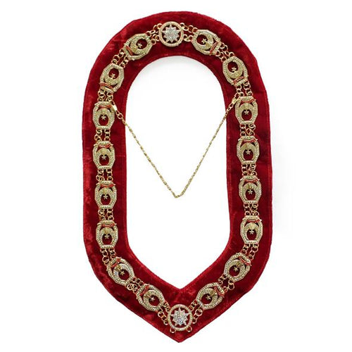 Shriner - Masonic Rhinestone Chain Collar - Gold/Silver on Red - Regalialodge