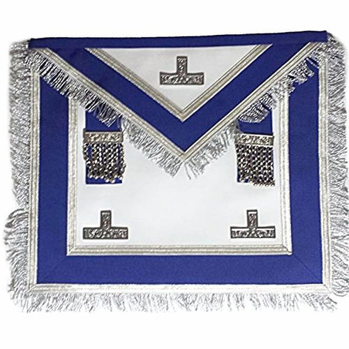 Centennial/Canadian MM/PM Worshipful Royal Blue Apron Silver Fringe - Regalialodge