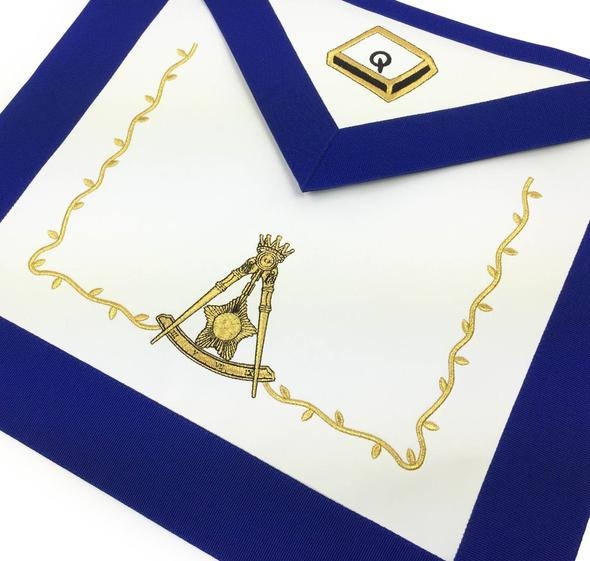 Masonic Blue Lodge 14th Degree Machine Embroidered Lambskin Apron - Regalialodge