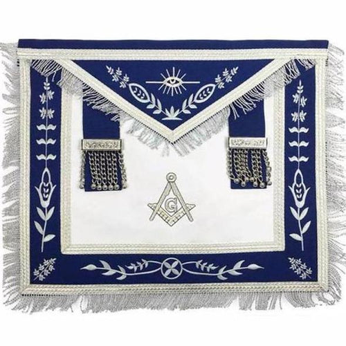Masonic Blue Lodge G Master Mason Silver Machine Embroidery Freemasons Apron - Regalialodge