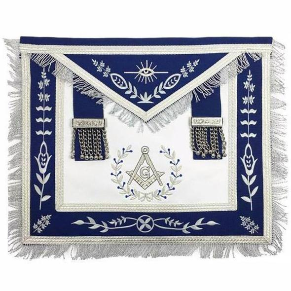 Masonic Blue Lodge Master Mason Silver Machine Embroidery Freemasons Apron - Regalialodge