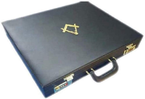 Masonic Regalia MM/WM Mason Apron Hard Case/Briefcase with Yellow Compass