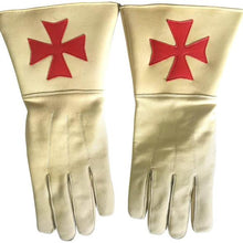 Charger l'image dans la galerie, Knight of Malta Buff Color Gauntlets Red Maltese Cross Soft Leather Gloves - Regalialodge