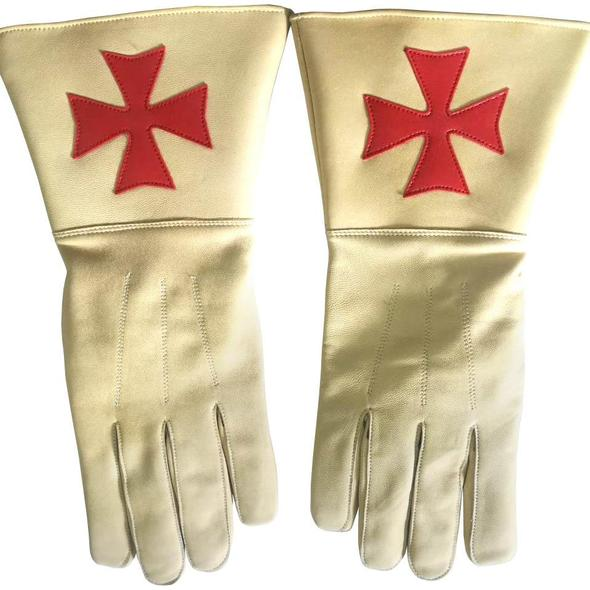 Knight of Malta Buff Color Gauntlets Red Maltese Cross Soft Leather Gloves - Regalialodge