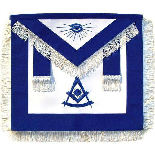 Masonic Past Master Apron Blue With White Fringe - Regalialodge
