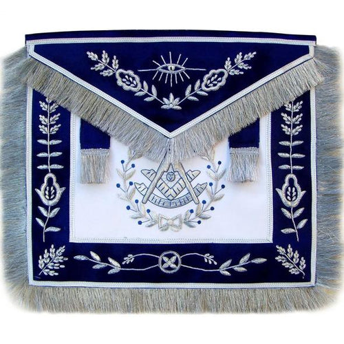Masonic Blue Past Master Apron Bullion Hand Embroidered Vine Work - Regalialodge