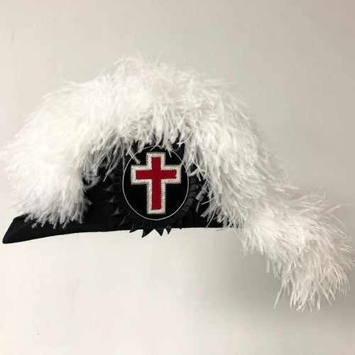 Knights Templar Line Officer Sir Knight Chapeau - DELUXE Fur Felt - Flat Body - Regalialodge