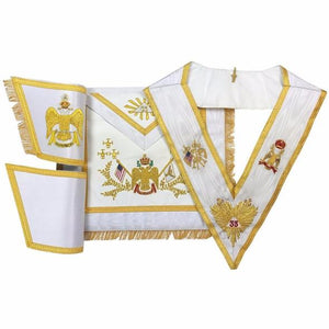 Rose Croix 33rd Degree Hand embroidered Apron Set 'WINGS DOWN' All Countries Flags - Regalialodge
