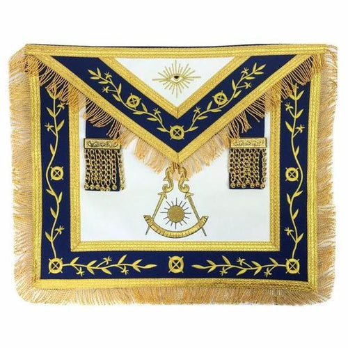 Masonic Blue Lodge Past Master Gold Machine Embroidery Apron - Regalialodge