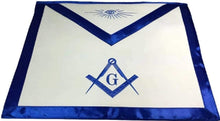 Load image into Gallery viewer, Blue Satin Master Mason Apron Square Compass & G
